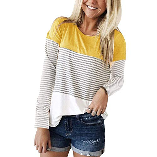 Womens Long Sleeve T Shirts Round Neck Stripe Cotton Shirts Casual Tops Tees Yellow S