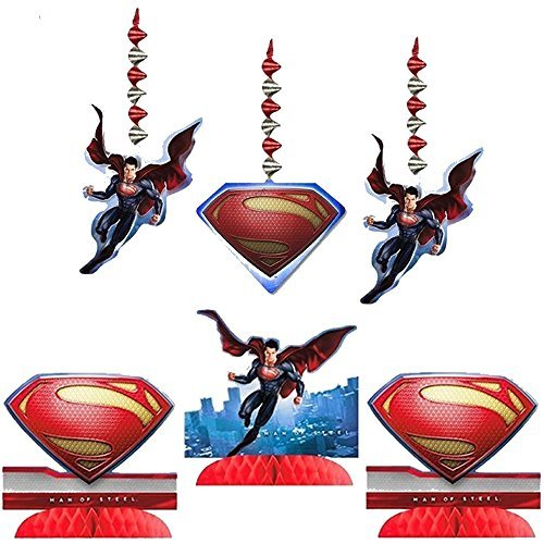 Superman Man of Steel Party Decorating Kit Including Centerpiece and Danglers -