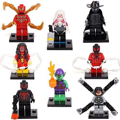 Scarlet Spider Iron man 2099 Doctor Octopus 8 Minifigures Building Bricks lEGO ()
