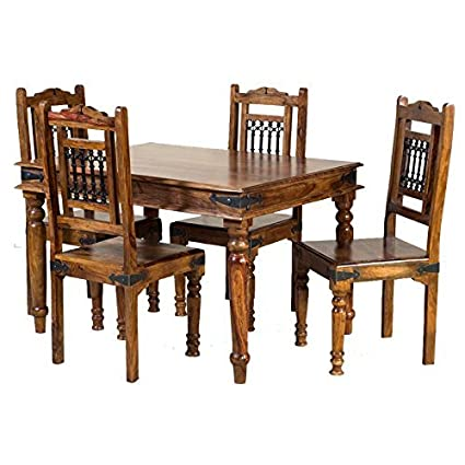 Hawking Hard Wood 4 Seater Dining Table Set  Amazon.in  Home   Kitchen 3c4da900d
