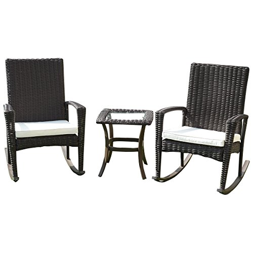 Tangkula 3PCS Patio Furniture Set Outdoor Wicker Table and Chairs Set Conversation Set (Outdoor Chair Set)