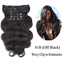 """SHOWJARLLY Wavy Clip in Hair Extensions Human Hair 7Pcs/110g 22"""" Thick Full Head Body Wave Double Weft Remy Clip in Human Hair Extensions #1B Natural Black"""