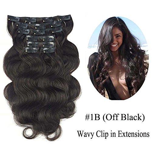 SHOWJARLLY Wavy Clip in Hair Extensions Human Hair 7Pcs/110g 22