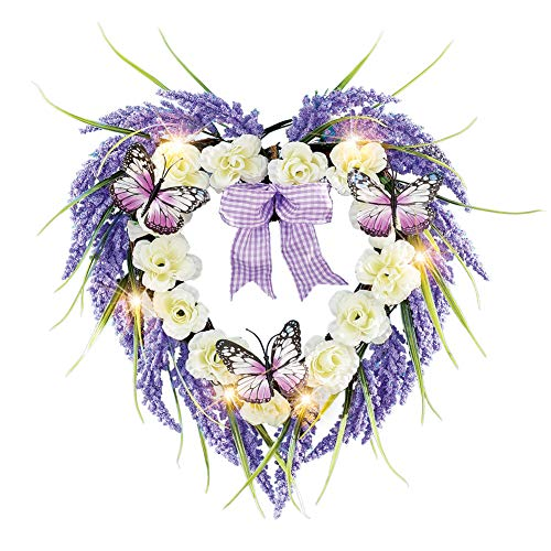Collections Etc Lighted Heart-Shaped Lavender Wreath with Bow - Seasonal Window or Door Accent for Any Room in Home ()