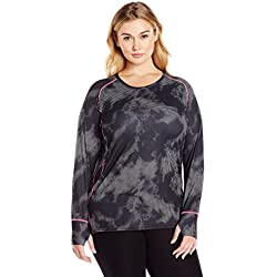 WonderWink Women's Plus Size Ffx Sport Sporty Printed Tee Extended, Storm Black, 3X-Large