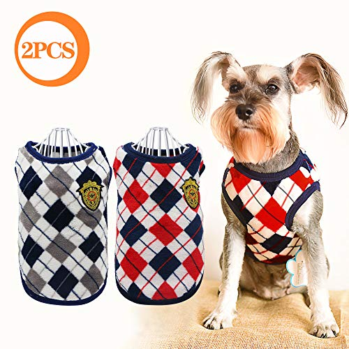 YAODHAOD Cat Dog Flannel Winter Clothes, Diamond Plaid Cat Dog Sweater Coat, Dog Soft Sweatshirt,Dog Apparel