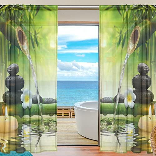 SEULIFE Window Sheer Curtain Japanese Zen Bamboo Flower Voile Curtain Drapes