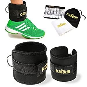KLASTILL Ankle Straps for Cable Machines and Resistance Band, Gym Padded Kickback for Women & Men Perfect Attachment for Leg, Abs & Glutes Workout + Fitness Towel & Weekly Tracker...