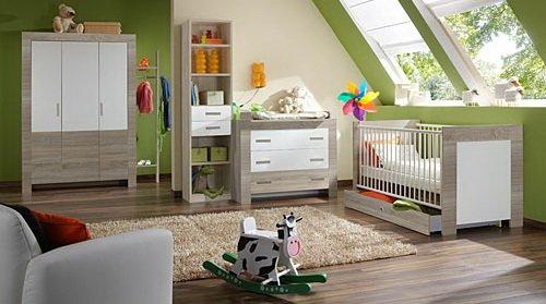 Babyzimmer, komplett, Komplettset, Kinderzimmer, Babybett, Babybettchen, Wickelkommode, Wickeltisch, 5-tlg., Eiche sägerau, weiß, alpinweiß