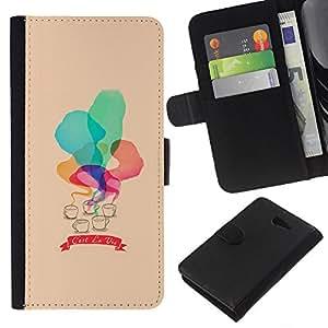 KLONGSHOP // Tirón de la caja Cartera de cuero con ranuras para tarjetas - C'est La Vie Acuarela Peach - Sony Xperia M2 //