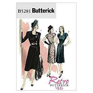 1940s Sewing Patterns – Dresses, Overalls, Lingerie etc 1946 Dress Butterick Patterns B5281 Misses Dress and Belt Size AA (6-8-10-12) $6.24 AT vintagedancer.com