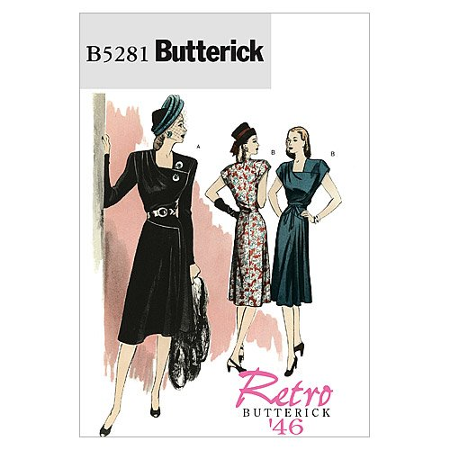 1940s Sewing Patterns – Dresses, Overalls, Lingerie etc 1946 BUTTERICK PATTERNS B5281 Misses Dress and Belt Size AA (6-8-10-12) $11.34 AT vintagedancer.com