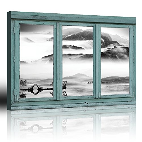 Vintage Teal Window Looking Out Into a Black and White Lake with a Mountain View