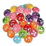 Miniature Mushrooms, 80 Pieces Fairy Garden Miniature Ornaments, 8 Colors Mushrooms Set, eLander Dollhouse Decoration