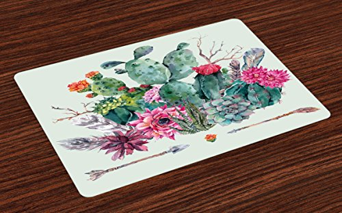 Ambesonne Cactus Place Mats Set of 4, Spring Garden with Boho Style Bouquet of Thorny Plants Blossoms Arrows Feathers, Washable Fabric Placemats for Dining Room Kitchen Table Decor, Multicolor