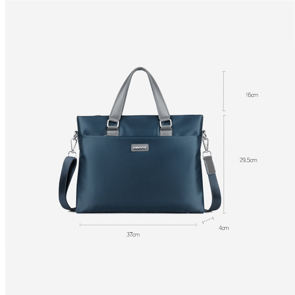 Briefcase 14 inch Notebook Business Casual Cross Section Waterproof Oxford Cloth Polyester Cotton Wear Shoulder Diagonal Large Space Fashion Slim Bag Blue,Black