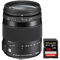 Sigma 18-200mm F3.5-6.3 DC Macro OS HSM Lens for Nikon (885-306) with Sandisk Extreme PRO SDXC 128GB UHS-1 Memory Card
