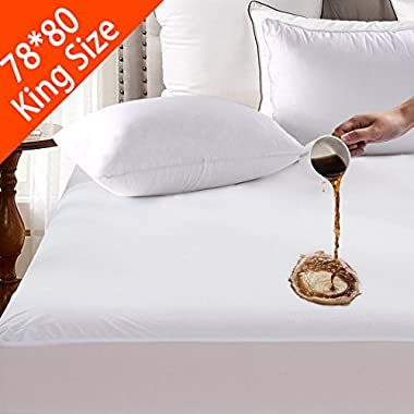 King Waterproof Mattress Pad Protector Cover - Fitted 8  - 21  Deep Pocket - Hypoallergenic Vinyl Free