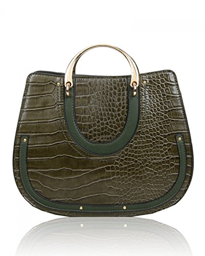 Faux Women's Bags Handbag For Holiday LeahWard Her Handbags Tote Bag Print Shoulder Croc 586 Leather Olive wXIgqdZB