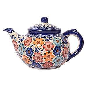 Traditional Polish Pottery, Handcrafted Ceramic 7-Cup Teapot with Lid (1350ml), H.101.Meadow