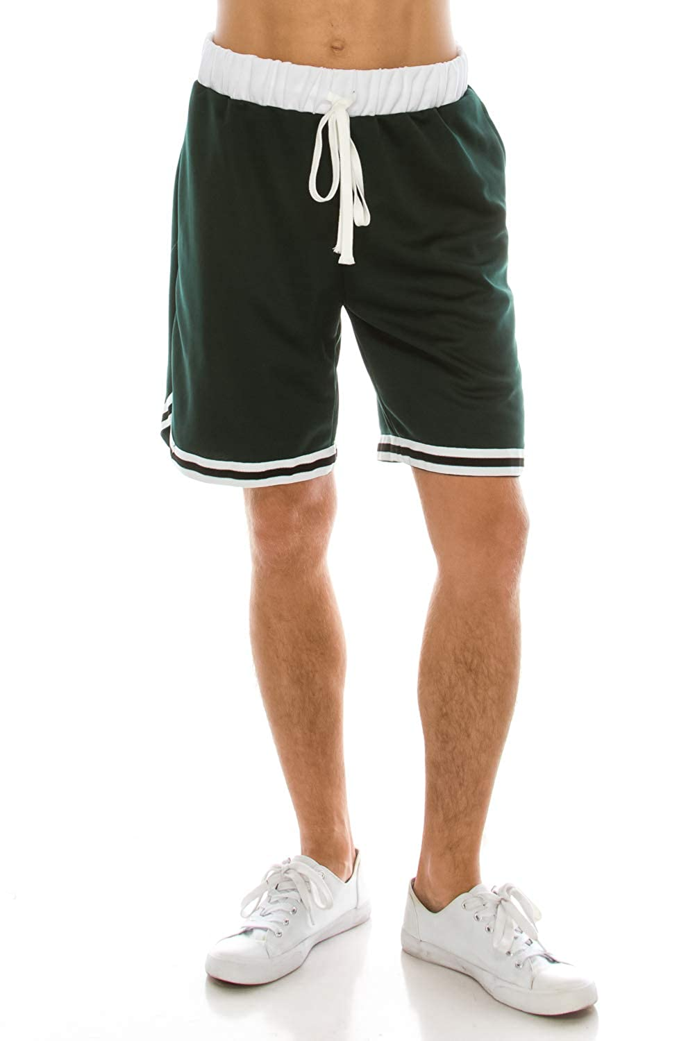 M WISHICAN Mens Athletic Vintage Jersey Shorts in Green with Black and White Accents