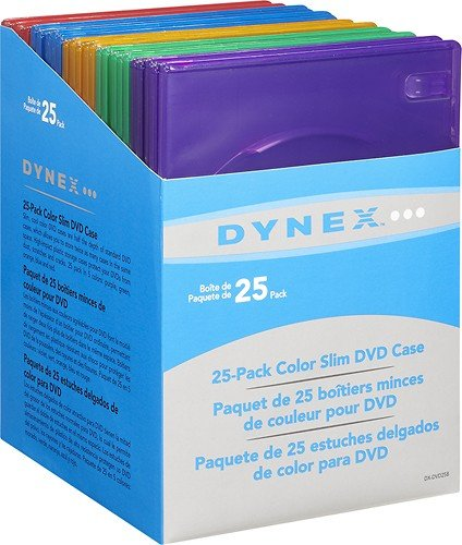 Dynex 25 Pack Color Slim DVD Case