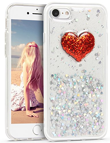 製品空虚ペックiPhone 8 ケース Imikoko iPhone 7 ケース スマホ TPU 耐衝撃 薄型 おしゃれ 人気 かわいい アイフォン7/8カバー (iPhone7/ iPhone8 4.7, 赤ハート)