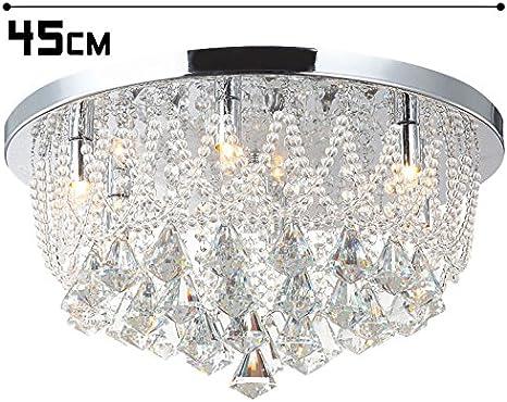 Led plafonnier lampe de plafond strass cristal de verre lustre chandelier salon chambre coucher salle de s/éjour /éclairage de luxe Naida-L 45cm 25W 5xG9 incl led ampoules.