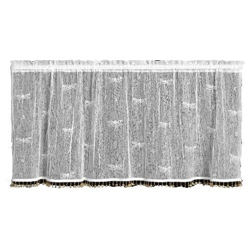 Dragon Valance - Heritage Lace Dragonfly 45-Inch Wide by 36-Inch Drop Tier with Trim, White