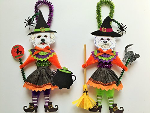 Bichon Frise HALLOWEEN WITCH ORNAMENTS Vintage Style Dog Chenille Ornaments Set of 2 -
