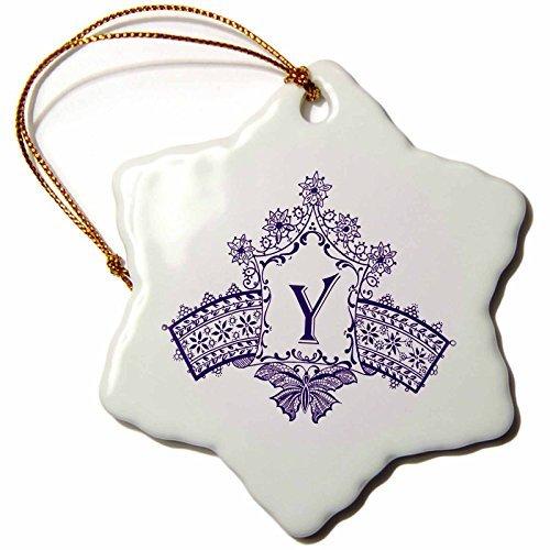 Russ Billington Monograms- Purple Diadem Initial Y - Monogram Initial Y in Purple Diadem with Butterfly Detail - 3 inch Snowflake Porcelain Ornament (238921_1) ()