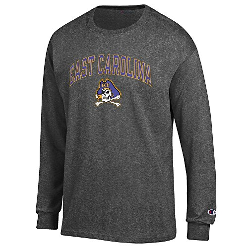 Elite Fan Shop East Carolina Pirates Long Sleeve Tshirt Varsity Charcoal - M