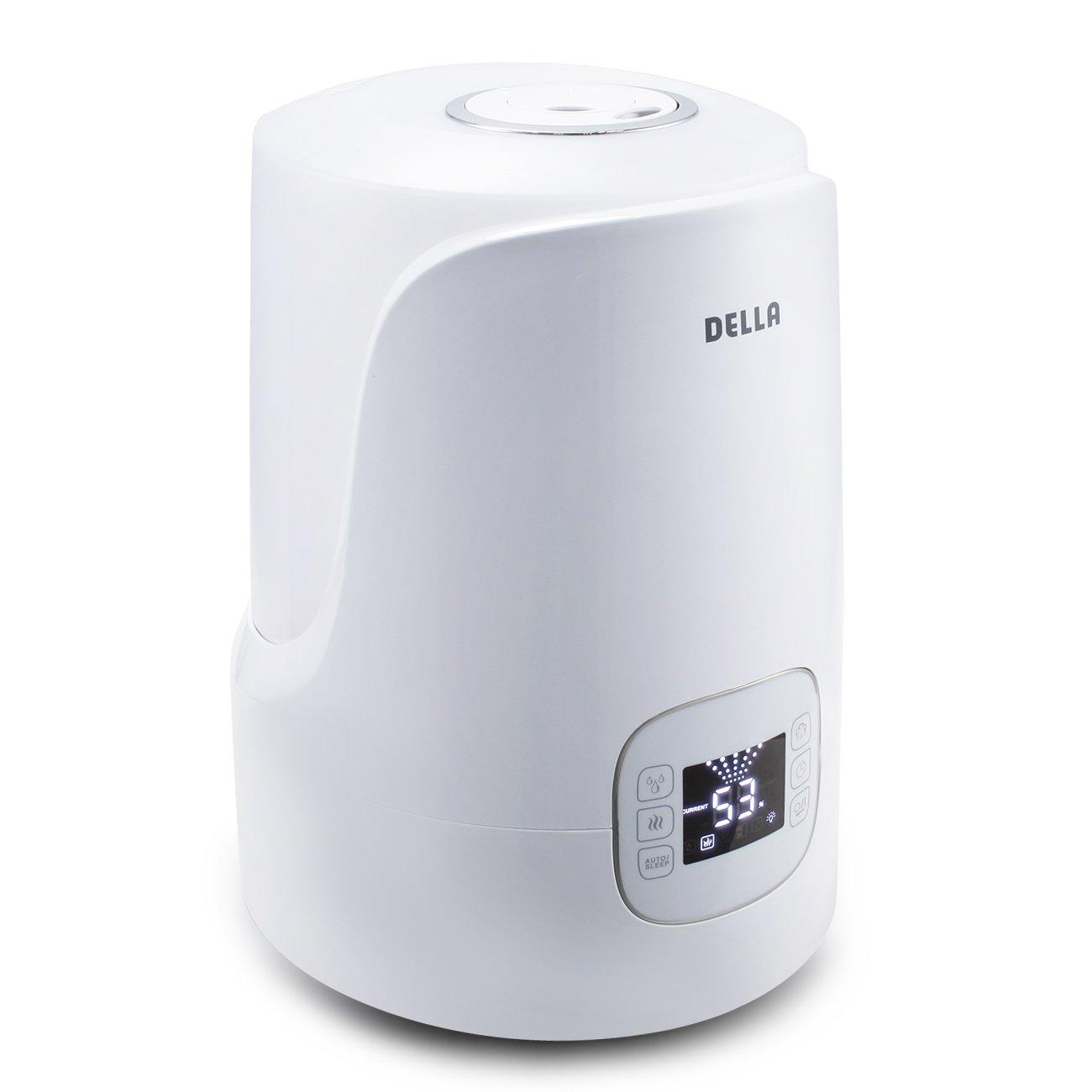 Della Warm & Cool Mist Humidifier Ultrasonic Humidifiers for Bedroom LED External Humidity Sensor 360° Rotatable Nozzle