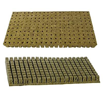 "Grodan A-OK 1""x1"" Sheet of 200 Rockwool / Stonewool Starter Cubes for Cuttings, Cloning, Plant Propagation, and Seed Starting"