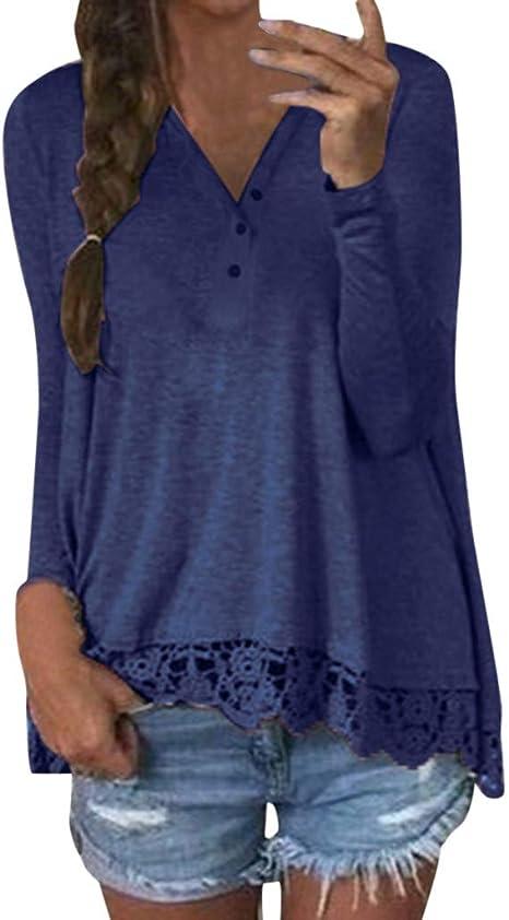 Camiseta Mujer Botones Cuello Pico Elegante Blusa Informal de Encaje Lisas Camisa Suelta de Manga Larga Armada M: Amazon.es: Ropa y accesorios