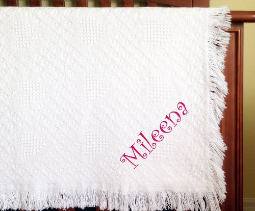 Mileena Girl Embroidered Embroidered Cotton Woven White Baby Blanket