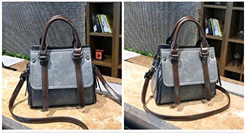 Handbag Bolso Retro Oblicuo, Bolso Grande del Hombro A+ (Color : Gris) Gris