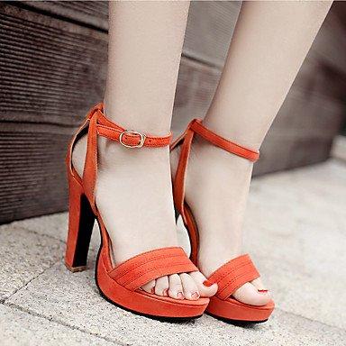 LvYuan Mujer-Tacón Robusto-Confort-Sandalias-Oficina y Trabajo Informal Fiesta y Noche-Semicuero-Negro Rosa Naranja Orange