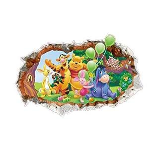 3D Winnie Pooh Waterproof Removable Background Wall Broken Wall Sticker