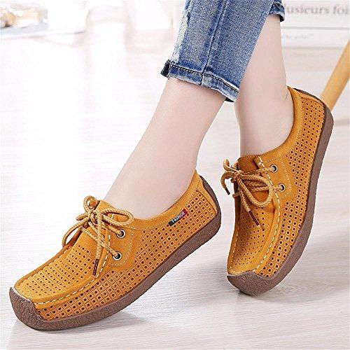 Mocasines Transpirable zapatos mujer conducción sin genuino Casual cuero Calzado planos Mocasín para mujer de amarillo Hollow cordones Cómodo para r8qrfRZn