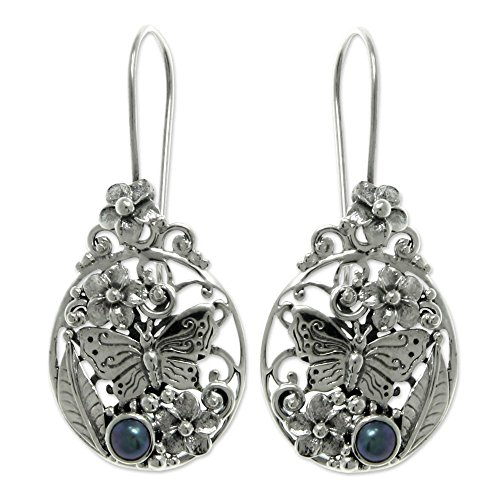 NOVICA Sterling Silver Dyed Cultured Freshwater Peacock Pearl Dangle Earrings 'Frangipani Butterfly'
