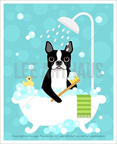 9D - Boston Terrier Dog in White Bathtub UNFRAMED Wall Art Print by Lee ArtHaus