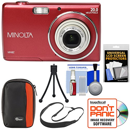 Minolta MN5Z 20MP HD Digital Camera (Red) with Case + Strap + Tripod + Kit (Minolta Dimage Camera)