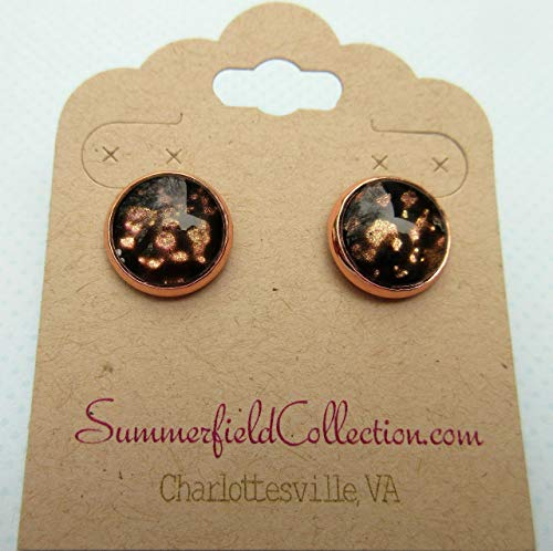 Rose Gold-tone Black Spotted Glitter Glass Stud Earrings Hand-painted 12mm