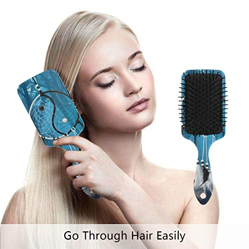 Towel Taiji Warmer (Detangling-Hairbrush, Dreamcatcher Chinese Taiji Boar bristle Hair Brushes with Nylon Ball-tipped & Air Cushion Plastic Comb for Anti Static & Frizz,Womens/Girls Hair Brush)