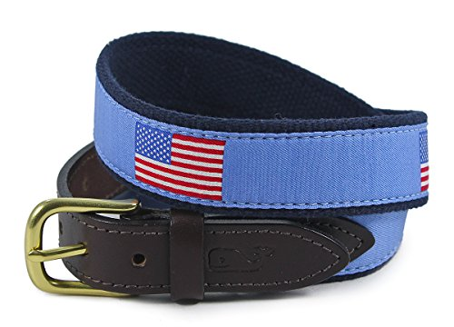 Printed Webbing Belt (Vineyard Vines Mens American Flag Royal Blue Canvas Patriotic Club Belt)