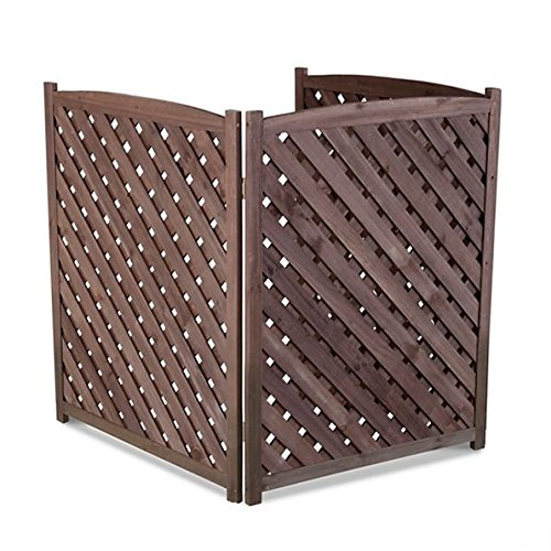 Brown Outdoor 3 Panel Wood 38'' Height Air Conditioner Screen Privacy Fence Hideaway