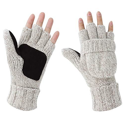- Kay Boya Winter Knit Wool Gloves Thicken Warm Gloves Fold Back Gloves for Men & Women (Beige)