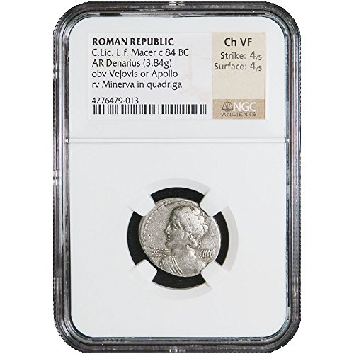 84-bc-roman-republic-clic-lf-macer-thunderbolts-silver-ar-denarius-ngc-ch-vf-choice-very-fine-ngc