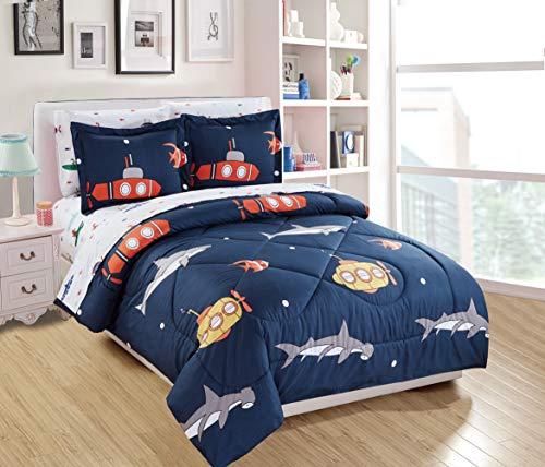 Luxury Home Collection 7 Piece Kids Full Comforter Set Submarine Octopus Shark Fish Blue White Green Red Yellow (Full Comforter)